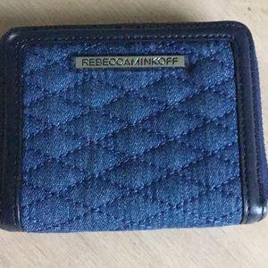 Rebecca Minkoff quilted denim leather trim wallet